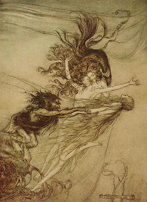 The Rhinemaidens Teasing Alberich Print by Arthur Rackham