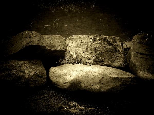 The River Rocks Print by Michael L Kimble
