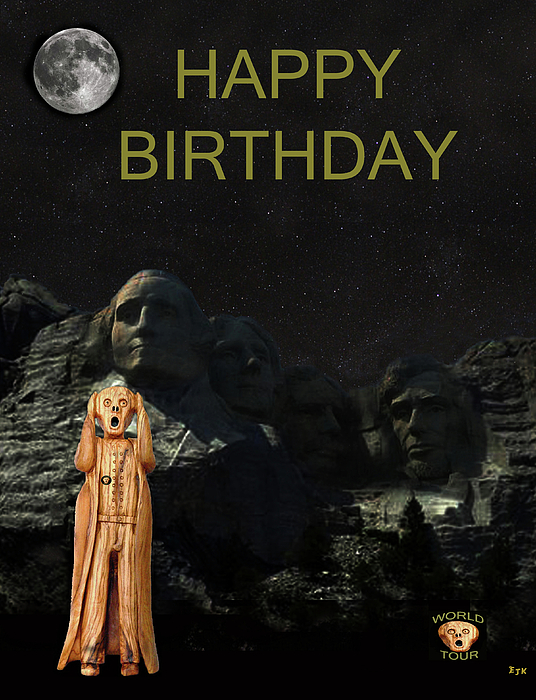The Scream World Tour Mount Rushmore Happy Birthday Print by Eric Kempson