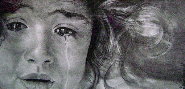 The Shy Cry Girl Print by Mickey Raina