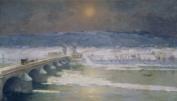 The Snow In The Auvergne Print by Albert Charles Lebourg