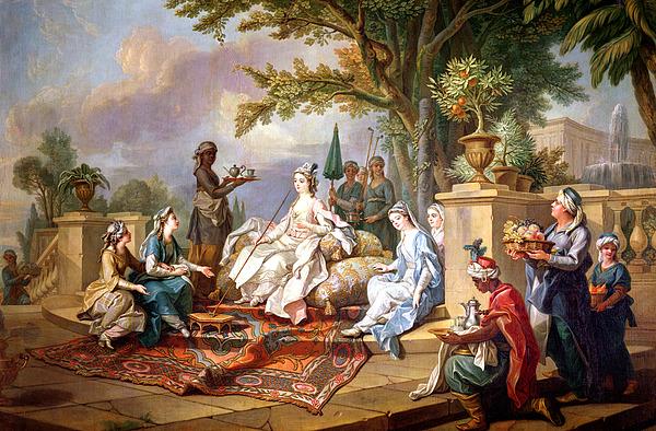 The Sultana Served By Her Eunuchs Print by Charles Amedee Philippe van Loo