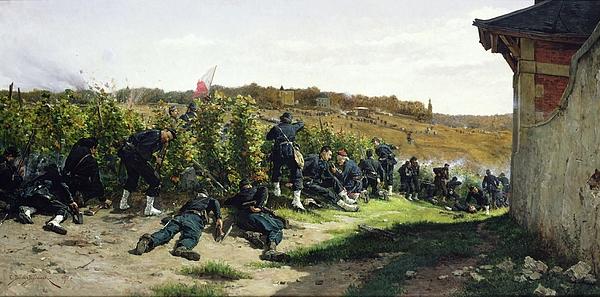 The Tirailleurs De La Seine At The Battle Of Rueil Malmaison Print by Etienne Prosper Berne-Bellecour