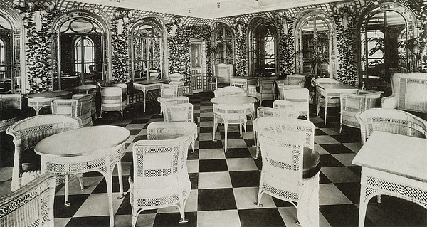 The Verandah Cafe Of The Titanic Print by Photo Researchers