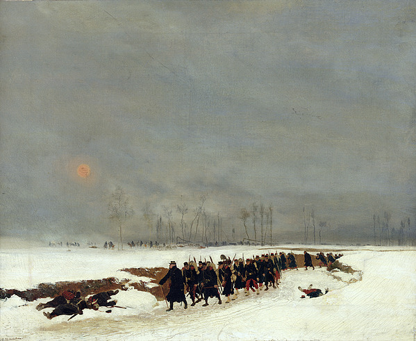 The War Of 1870 An Infantry Column On Their Way To A Raid Print by Jean-Baptiste Edouard Detaille