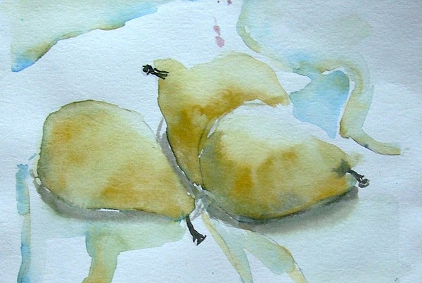 Three Gold Pears Print by Mindy Newman