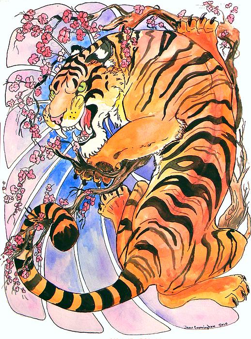 Tiger In Cherries Print by Jenn Cunningham
