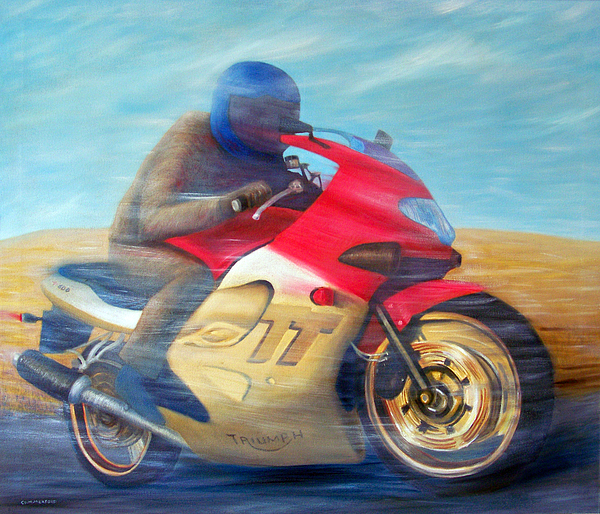 Time And Space Equation - Triumph 600tt Print by Brian  Commerford