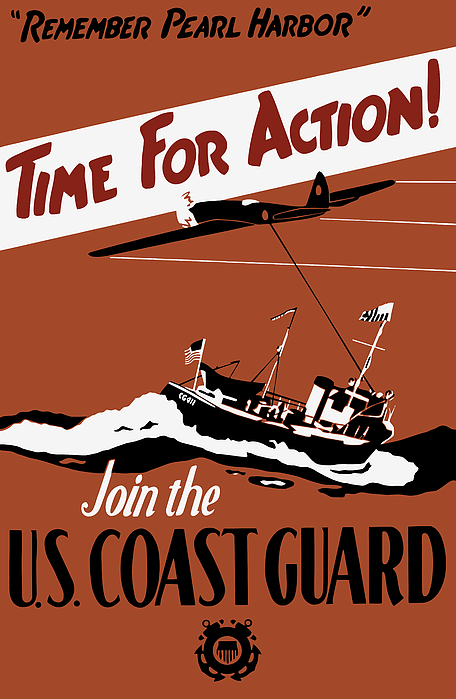 Time For Action - Join The Us Coast Guard Print by War Is Hell Store