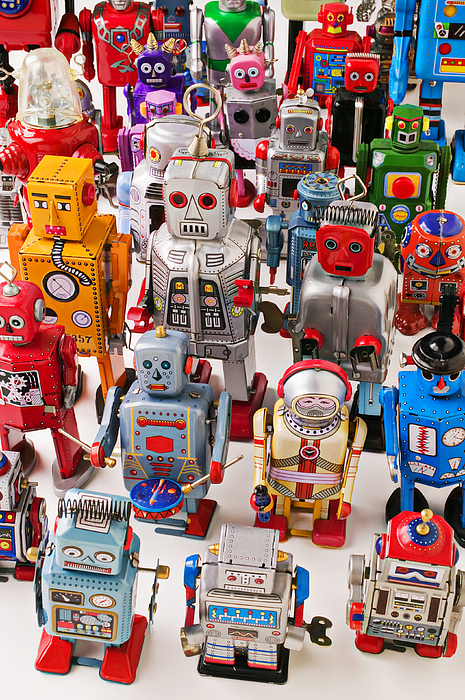 Toy Robots Print by Garry Gay