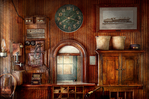 Train - Office - The Ticket Takers Window Print by Mike Savad