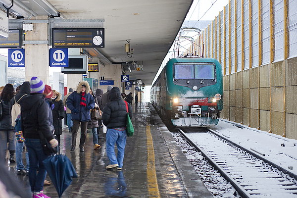 Train Station Under The Snow Print by Andre Goncalves