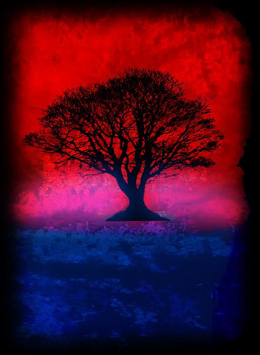 Tree Of Life - Red Sky Print by Robert R Splashy Art