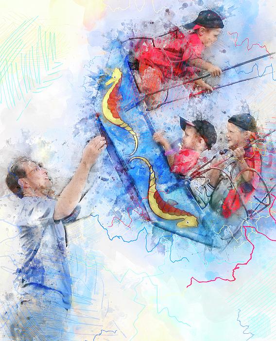 Rayanda Arts - Triple the Fun - Watercolor Triplet Boys Portrait