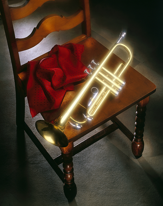 Trumpet On Chair Print by Tony Cordoza