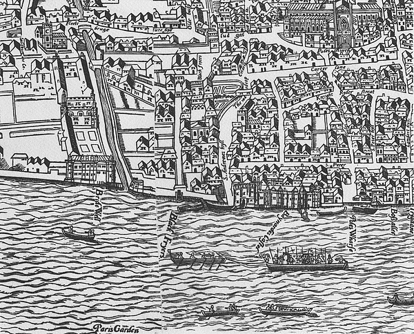 Tudor Map Showing Detail Of The River Thames by Ralph Agas