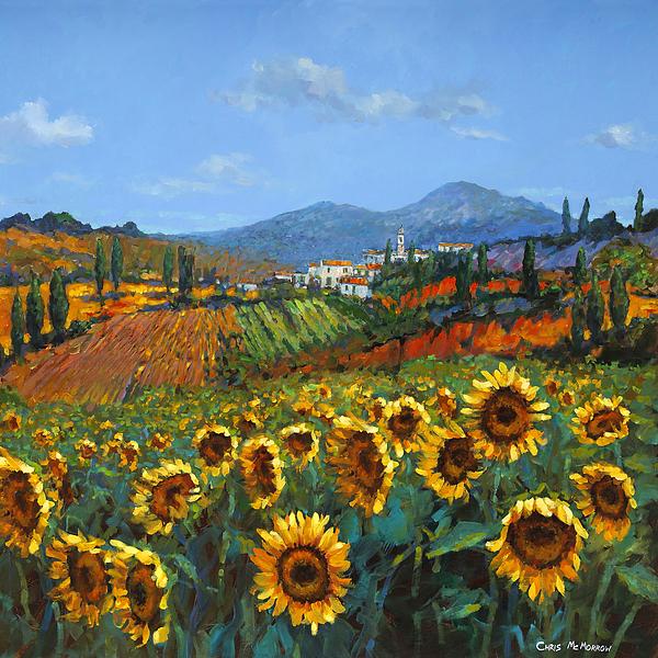 Tuscan Sunflowers Print by Chris Mc Morrow