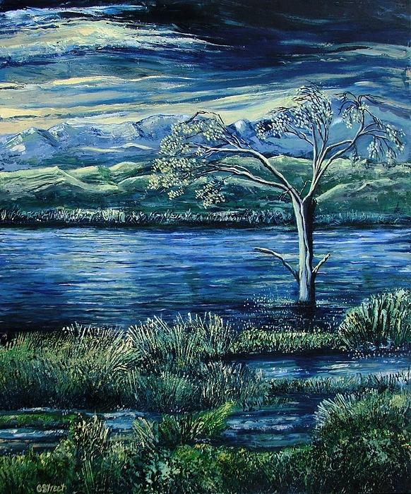 Twilight At The River Print by Caroline Street