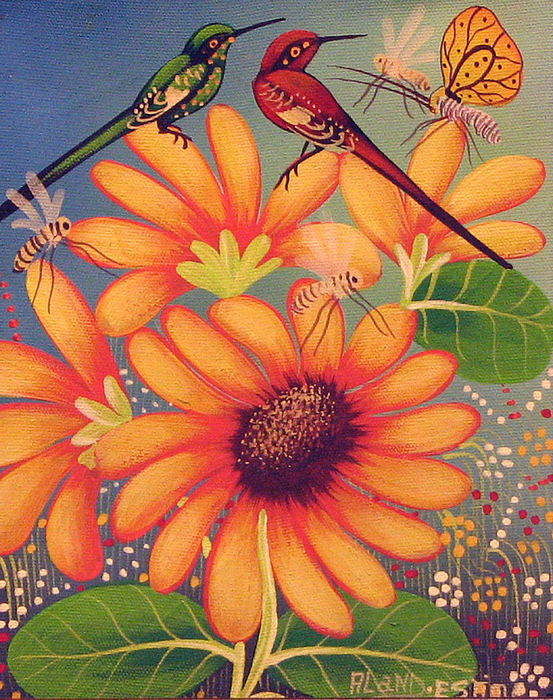 Twin Birds Print by Aland Estim