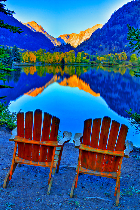 Two Chairs In Paradise Print by Scott Mahon