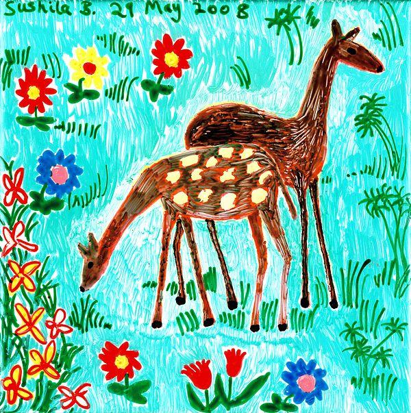 Two Deer Print by Sushila Burgess
