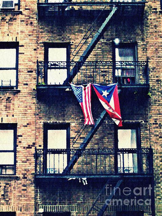 Two Flags In Washington Heights Print by Sarah Loft