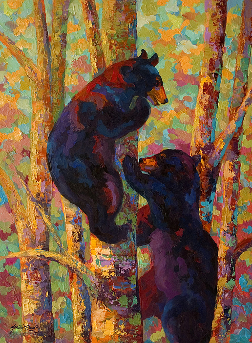 Two High - Black Bear Cubs Print by Marion Rose