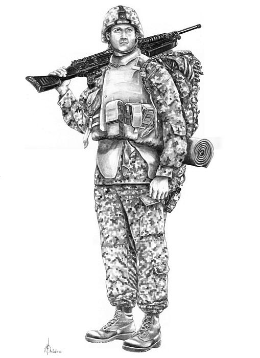 U S Marine Print by Murphy Elliott