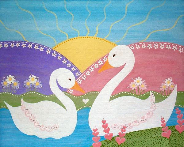 Upon Swan Lake Print by Samantha Shirley