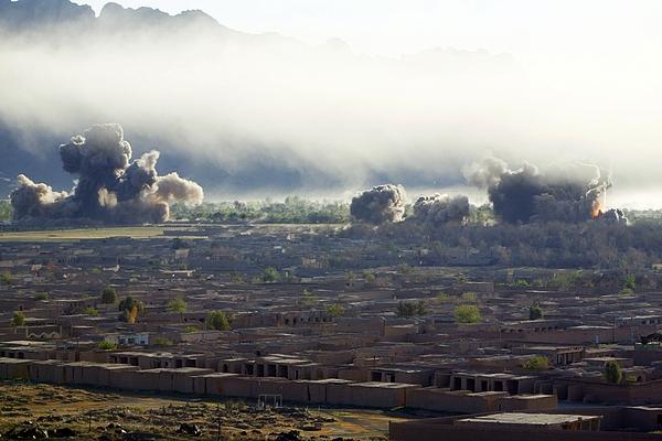 U.s. Bombs Burst During Fighting Print by Everett