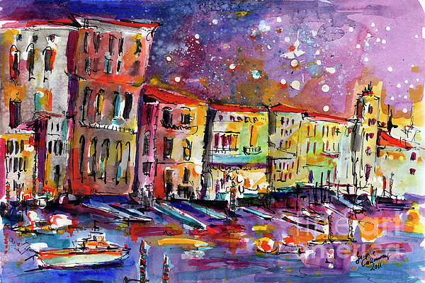 Venice Reflections Celebrating Italy Painting Print by Ginette Callaway