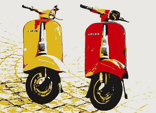 Vespa Scooter Pop Art Print by Michael Tompsett