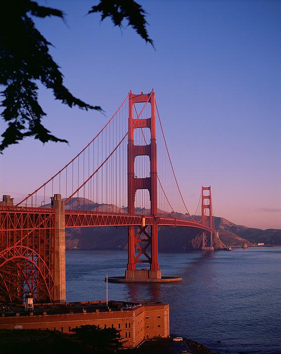 View Of The Golden Gate Bridge Print by American School