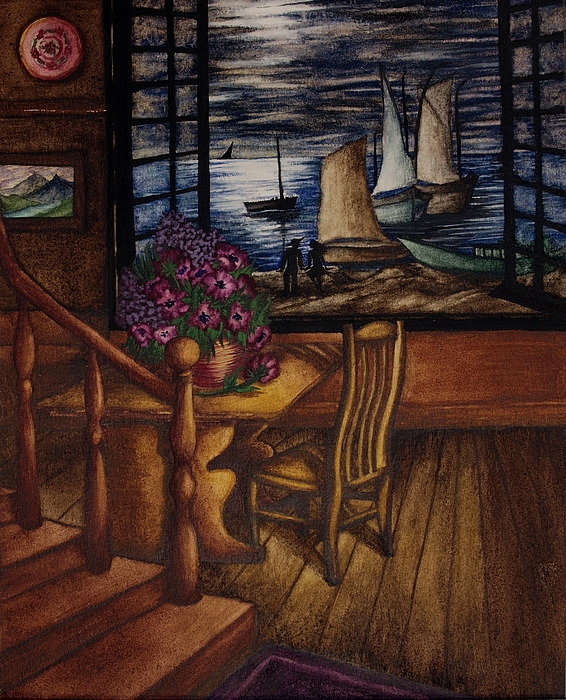 View Of The Moon And The Sea Print by Evelyn Sichrovsky