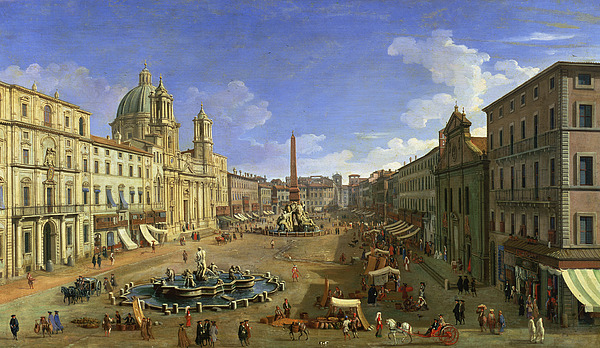 View Of The Piazza Navona Print by Canaletto