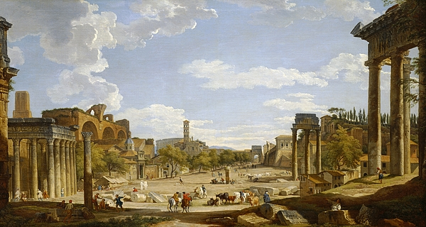 View Of The Roman Forum Print by Giovanni Paolo Panini
