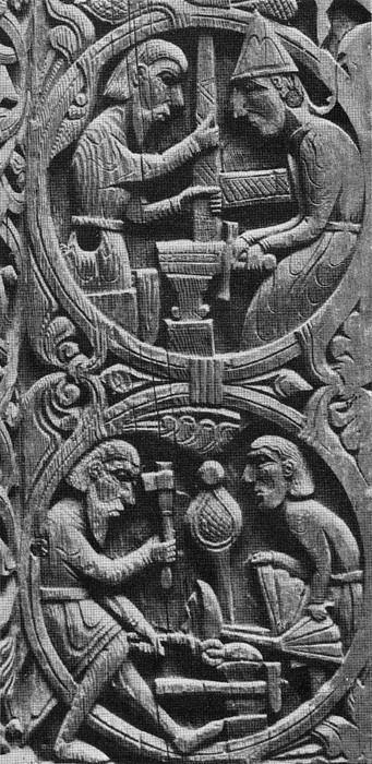 Viking Blacksmiths Forge The Sword Print by Photo Researchers