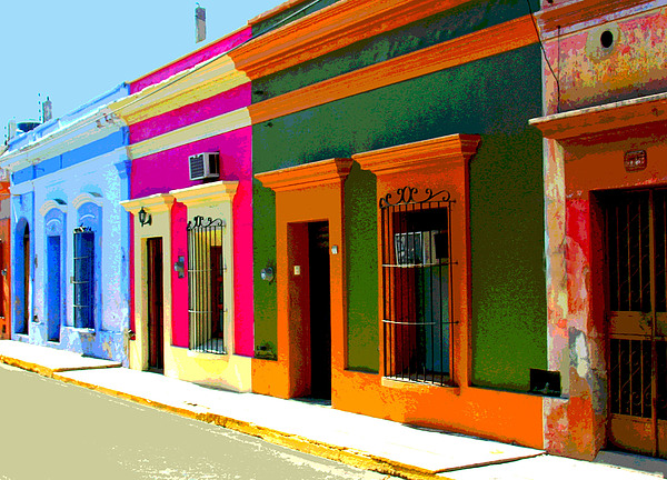 Village Streetscape By Michael Fitzpatrick Print by Mexicolors Art Photography