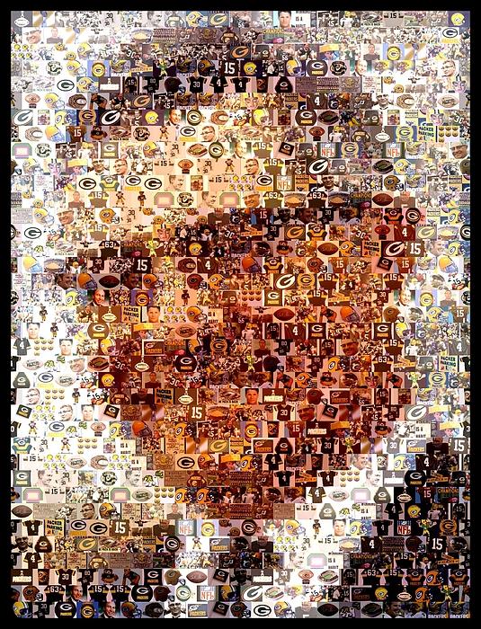 Vince Lombardi Green Bay Packers Mosaic Print by Paul Van Scott