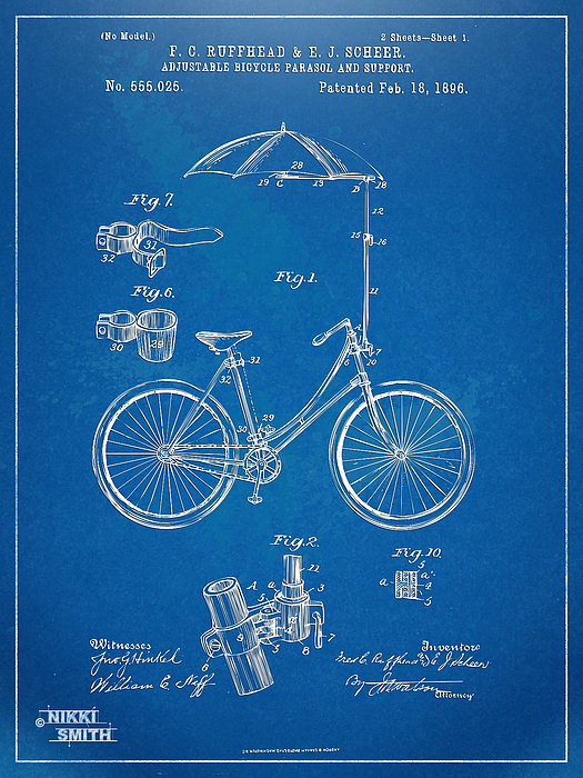 Vintage Bicycle Parasol Patent Artwork 1896 Print by Nikki Marie Smith