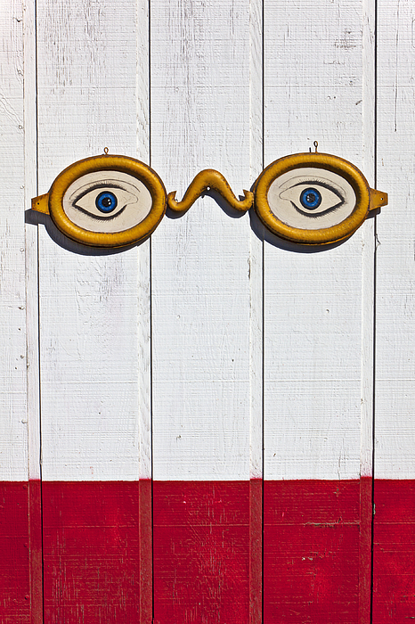 Vintage Eye Sign On Wooden Wall Print by Garry Gay
