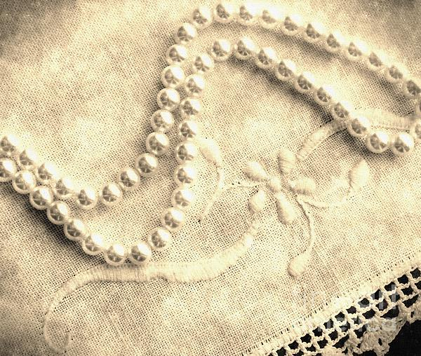 Vintage Lace And Pearls Print by Barbara Griffin