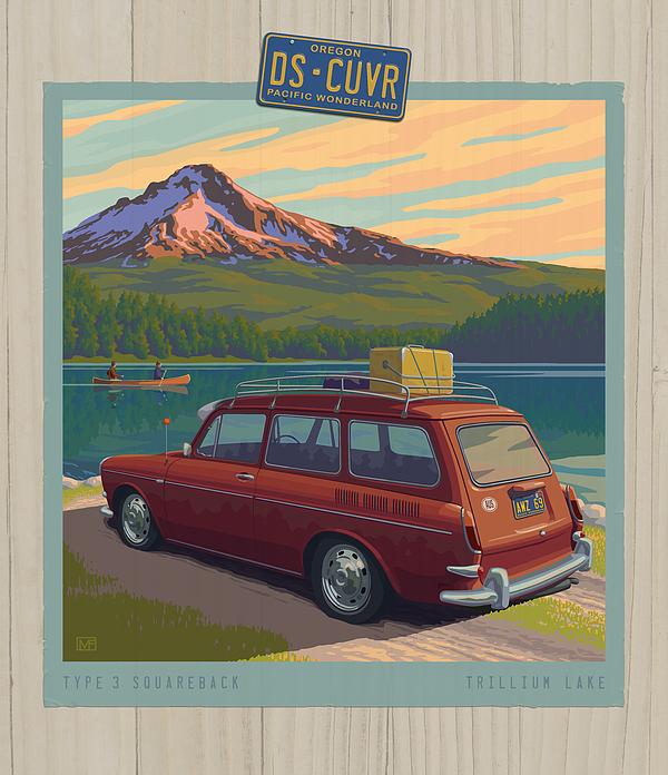 Vintage Squareback At Trillium Lake Print by Mitch Frey