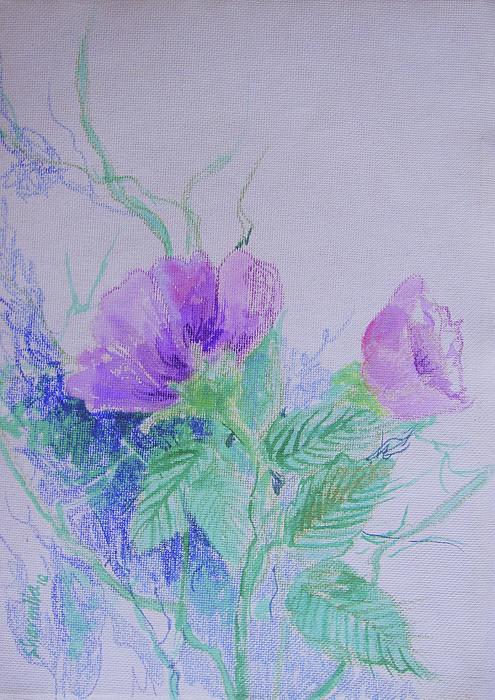 Violet Flowers Print by Sharmila L