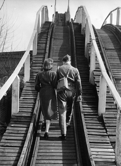 Walking On Rails Print by A J O'Brien