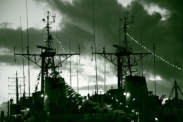Warships At Twilight Print by Gaspar Avila