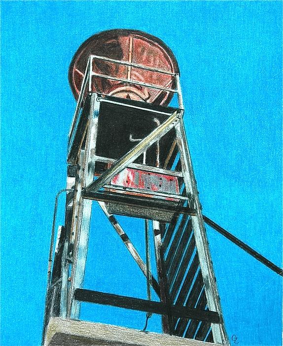 Water Tower Print by Glenda Zuckerman