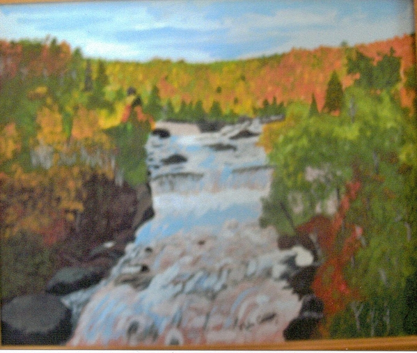 Waterfall In Fall Print by Juanita Couch