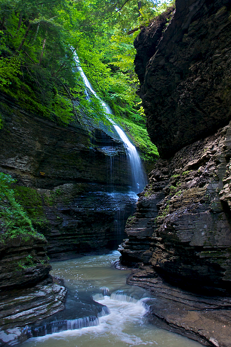 Waterfall In The Gorge Print by Mike Horvath