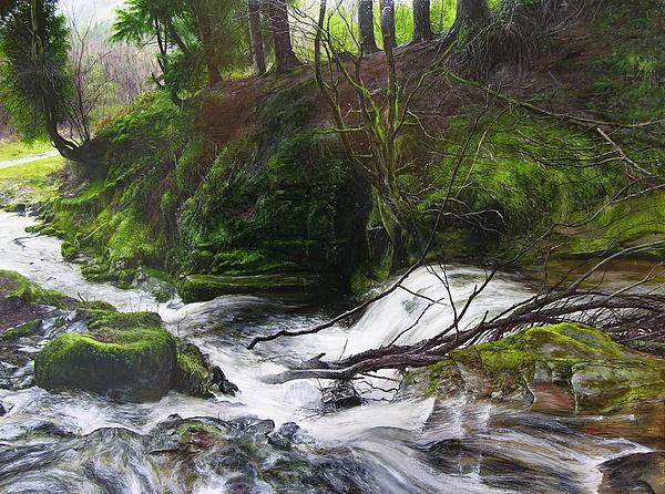 Waterfall Near Tallybont On Usk Wales By Harry Robertson